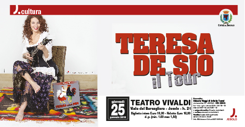 Teresa De Sio al teatro Vivaldi di Jesolo giovedì 25 gennaio 2018
