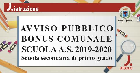 Avviso pubblico Bonus comunale Scuola 2019-2020