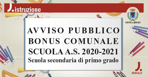 Avviso pubblico Bonus comunale Scuola 2020-2021