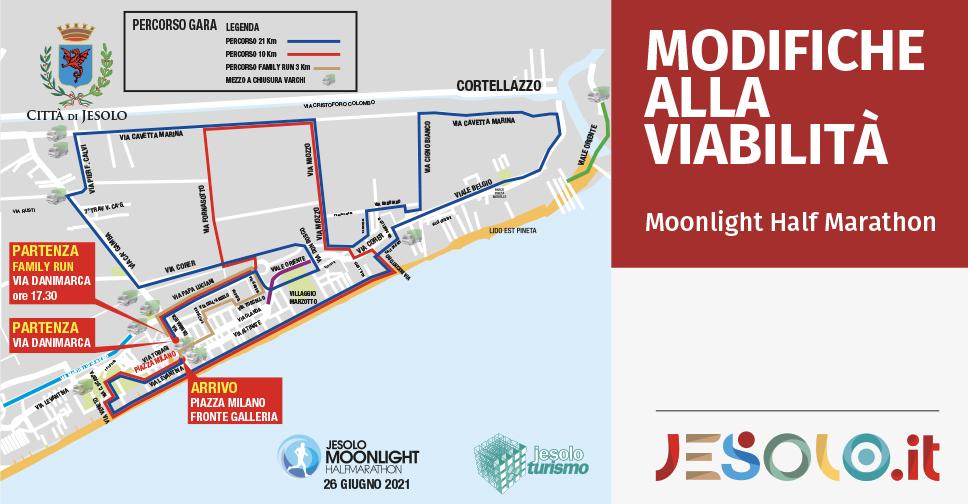Modifiche alla viabilità per la Jesolo Moonlight Half Marathon 26 giugno 2021