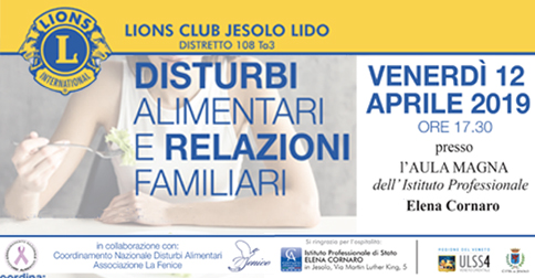 Disturbi alimentari e relazioni familiari - conferenza a Jesolo venerdì 12 aprile 2019