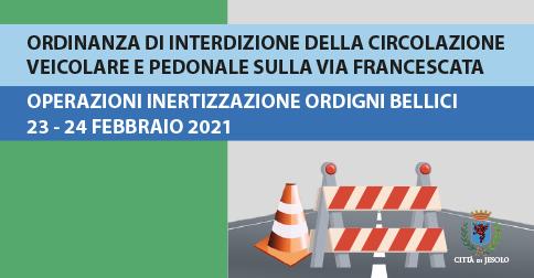 interdetta la circolazione su via Francescata - Jesolo il 23 e 24 febbraio dalle 10 alle 12
