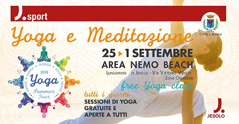 Yoga e Meditazione a Jesolo dal 25 agosto al 1 settembre 2018 area Nemo beach via VittorioVeneto