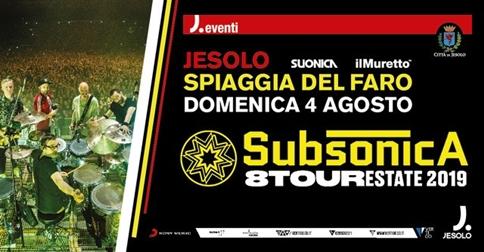 Subsonica 8 Tour il 4 agosto alla spiaggia del Faro,a Jesolo