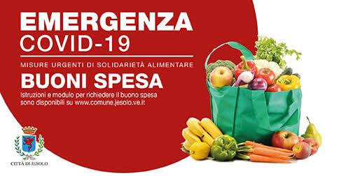 Comune di Jesolo Solidarietà alimentare emergenza Covid-19 Buoni spesa