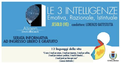 Le tre intelligenze incontro con Lorenzo Battistutta il 25 ottobre 2019 presso la Biblioteca Civica di Jesolo