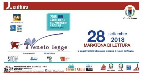 Il Veneto legge Maratona di lettura venerdì 28 settembre 2018 scuole, biblioteche, luoghi all'aperto