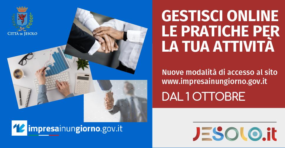 Nuove modalita' di accesso al portale www.impresainungiorno.gov.it dal 1 ottobre