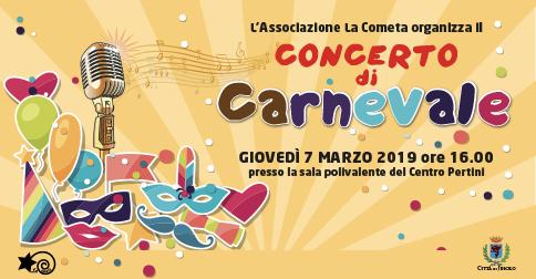 Concerto di Carnevale al Centro Pertini di Jesolo, giovedì 7 marzo 2019