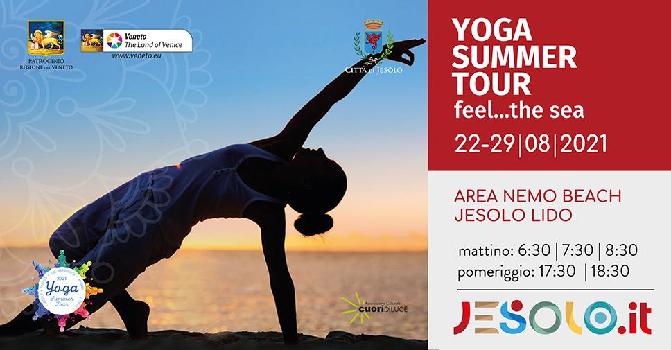 Yoga summer tour 2021 a Jesolo dal 22 al 29 agosto area Nemo beach via VittorioVeneto