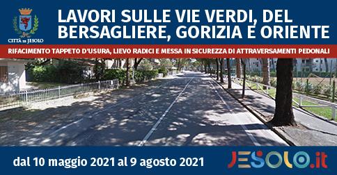 Modifiche alla viabilità per lavori sulle vie Verdi, del Bersagliere, Gorizia e Oriente