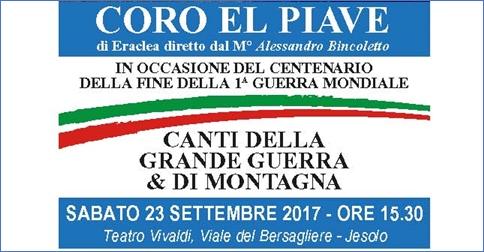Coro El Piave concerto a Jesolo-teatro Vivaldi il 23 settembre 2017 alle 15.30