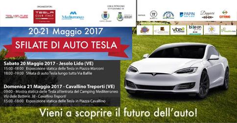 Sfilata e mostra auto Tesla a Jesolo, sabato 20 maggio 2017