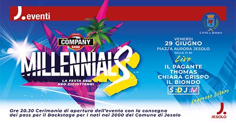 Millennials Party la festa dei Neo diciottenni a Jesolo, il 29 giugno 2018 -piazza Aurora
