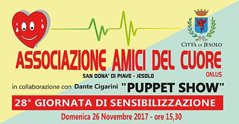 A Jesolo domenica 26 novembre 2017, Spettacolo Dante Cigarini puppet show per Amici del cuore
