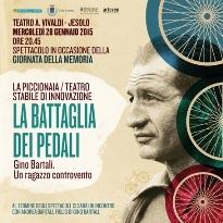 locandina con immagine di Gino Bartali e ruote di bicicletta