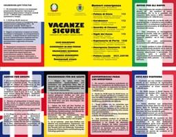 Pieghevolo informativo Vacanze Sicure realizzato in 5 lingue