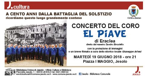 Coro El Piave: Concerto a cento anni dalla battaglia del solstizio in piazza Marconi a Jesolo, 19 giugno 2018