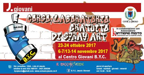 Ad ottobre e novembre 2017 corso laboratorio gratuito di Spray art. al Centro giovani BYC