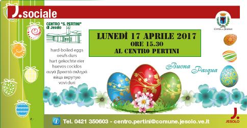 Il Centro Pertini di Jesolo festeggia la Pasqua con tutti gli iscritti lunedì 17 aprile, alle 15.30