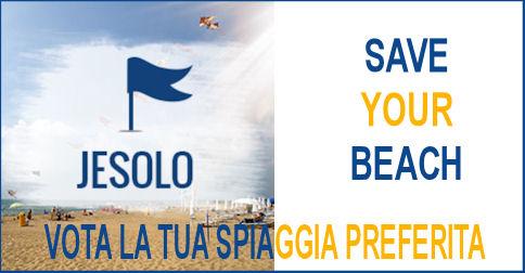 scritta Jesolo Save your beach in blu e giallo