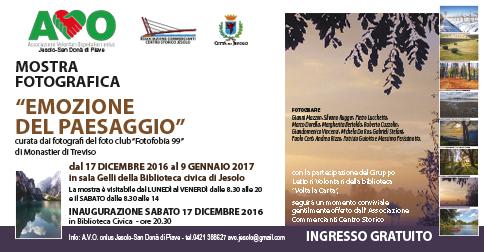 Emozione del paesaggio-Mostra fotografica presso la Sala gelli, Biblioteca Civica di jesolo, dal 17 dicembre 2016 al 9 gennaio 2017