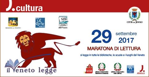 Il Veneto legge Maratona di lettura venerdì 29 settemnre 2017 a Jesolo in scuole, biblioteche, luoghi all'aperto