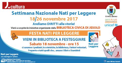 Festa nati per leggere sabato 18 novembre 2017 Biblioteca Civica di Jesolo