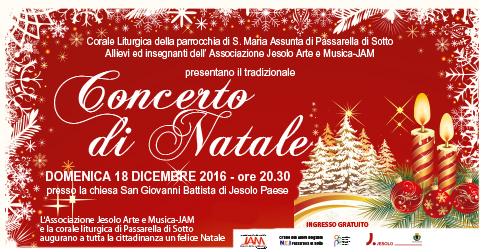 Locandina del concerto di Natale della scuola JAM 2016 a Jesolo Paese