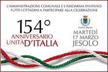 tricolore intrecciato con scritta 154° anniversario unità d'italia in rosso