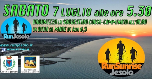 Run Sunrise Jesolo la corsa all'alba sabato 7 luglio 2018