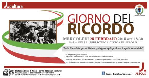 Giorno del ricordo: mercoledì 28 febbraio presso la Biblioteca civica di Jesolo