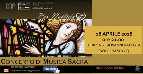 Concerto di musica sacra Coro Ars Nova - Chiesa di S. Giovanni Battista, Jesolo, mercoledì 18 aprile h 21