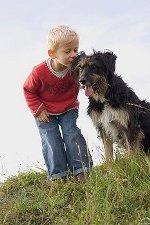 immagine cagnolino con bambino